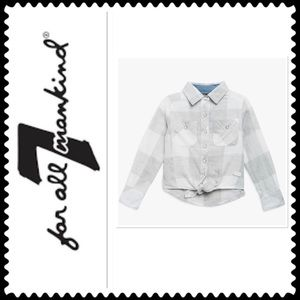 7 for All Mankind Girl's Tie Front Shirt